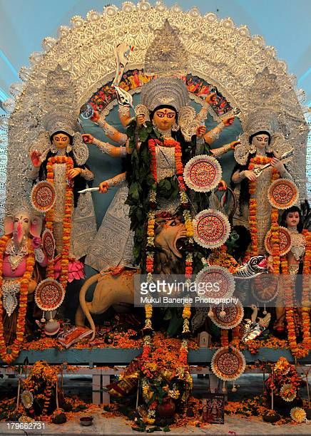 durga idol, durga puja celebration, delhi - durga stock photos and pictures