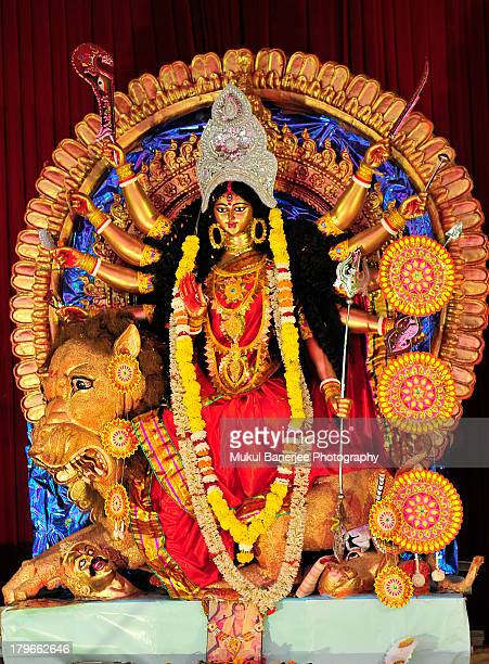 durga idol , durga puja celebrations, delhi - durga stock photos and pictures