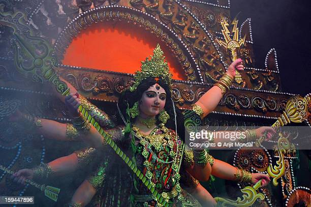 durga idol during durga puja - durga stock photos and pictures