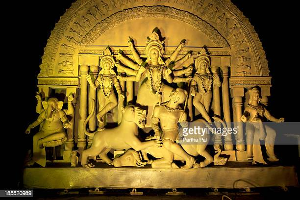 durga idol in unfinished condition - durga stock photos and pictures