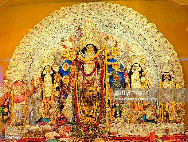 durga idol, new delhi - durga stock photos and pictures