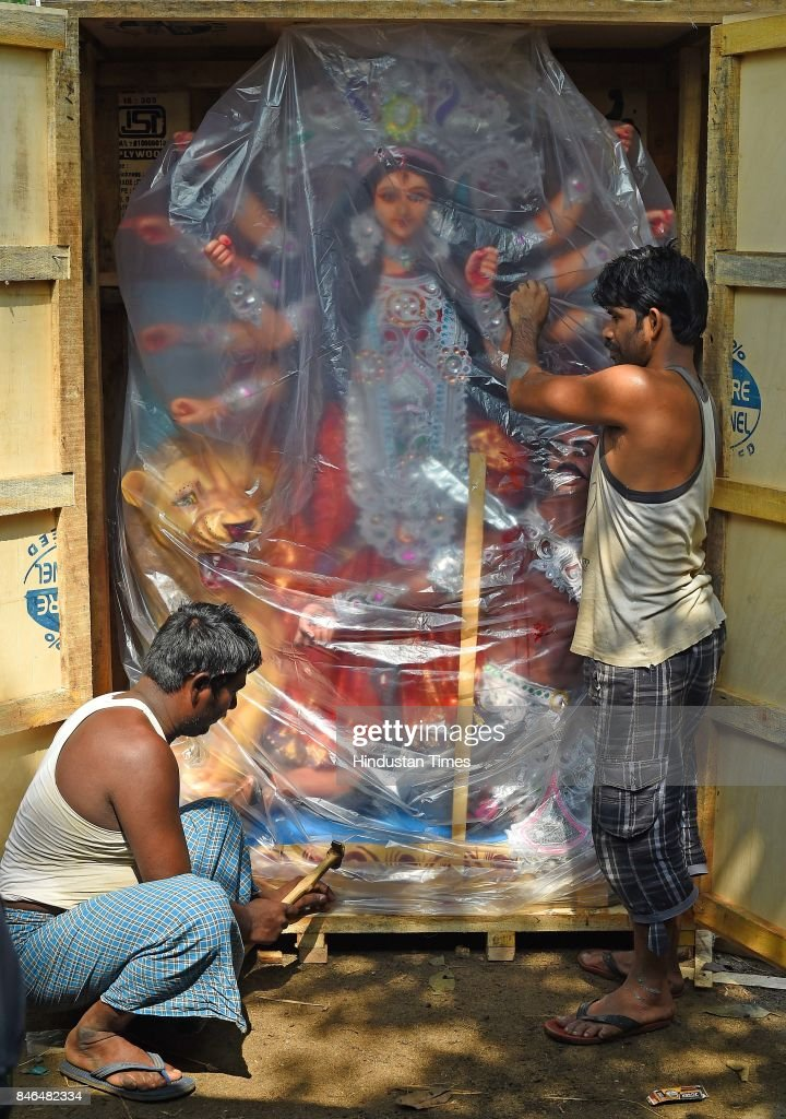A Durga idol taken to Sri Lanka from Shivaji Park for the upcoming Durga Puja, on September 11, 2017 in Mumbai, India. Durga Puja, also called Durgotsava and Navaratri, is an annual Hindu or Bengali Hindu festival in the Indian subcontinent that reveres the Goddess Durga. It is observed in the Hindu calendar month of Ashvin, typically September or October of the Gregorian calendar.