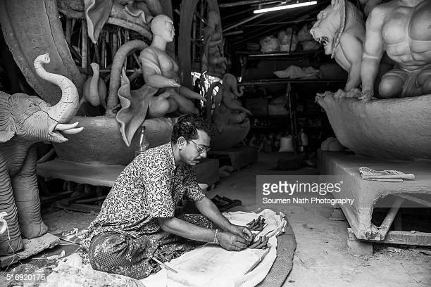 Durga Idols being made by Artisans