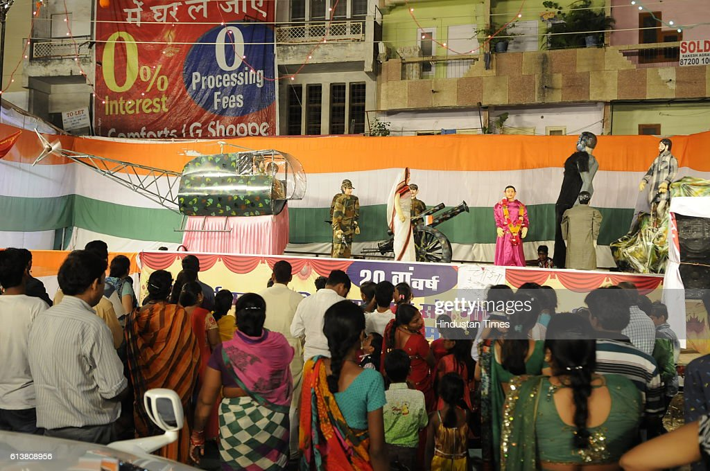 A Durga pandal tableau showing surgical strike on October 9, 2016 in Bhopal, India.