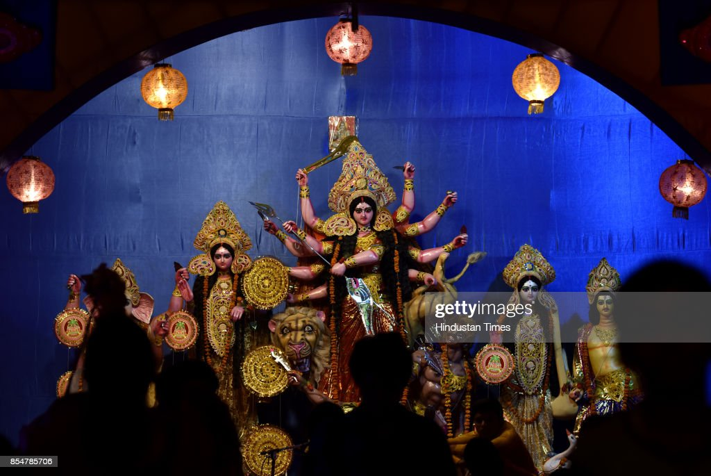 Durga Puja celebration organised by RWA at sector 71 on September 27 2017 in Noida India