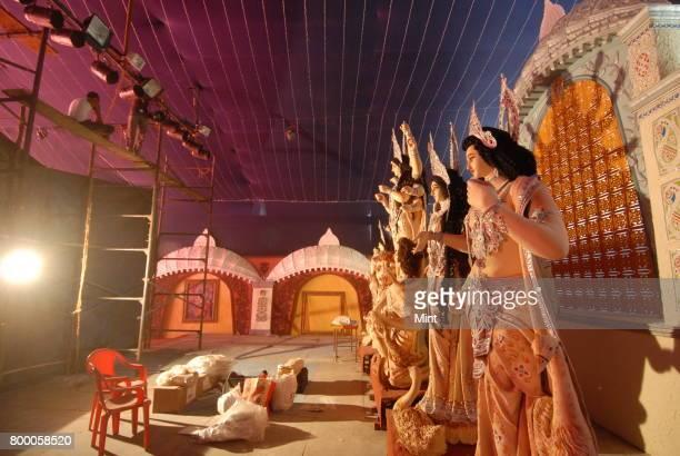 Durga Puja Festival preparation at Andheri Lokhandwala Sarvajanik Durgotsav Samiti in Mumbai