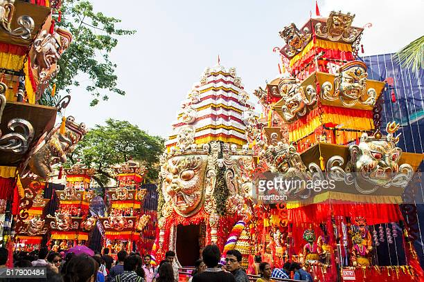 durga puja pandal - durga stock photos and pictures