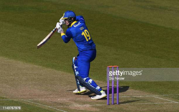 Durham batsman Alex Lees drives during the Royal London One Day Cup match between Durham and Leicestershire at Emirates Riverside on April 19, 2019...