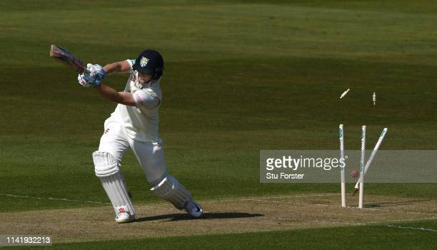 Durham batsman Alex Lees is bowled by Sussex bowler Mir Hamza during day one of the SpecSavers Division Two match between Durham and Sussex at...