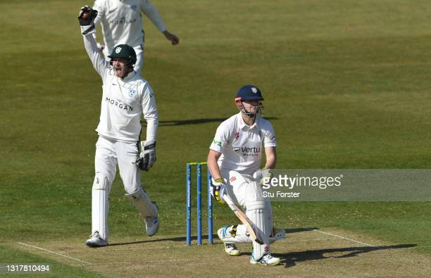 Durham batsman Alex Lees is caught behind by Ben Cox off the bowling of Joe Leach for 99 runs during day one of the LV=Insurance County Championship...