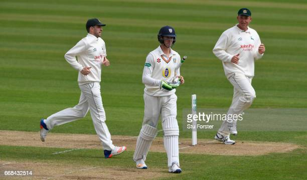 Durham batsman Keaton Jennings leaves the crease after being dismissed by Notts bowler James Pattinson during day one of the Specsavers County...