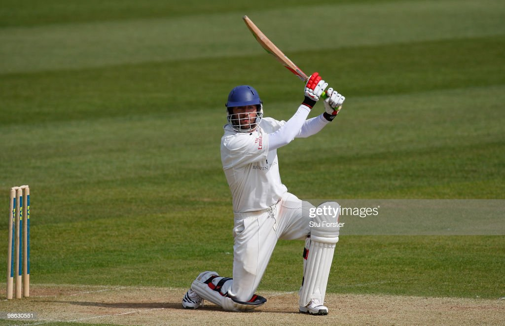 Durham batsman Liam Plunkett in action during day three of the LV County Championship division one match between Durham and Hampshire at The Riverside on April 23, 2010 in Chester-le-Street, England.