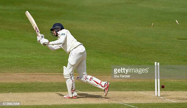 Durham batsman Paul Coughlin looses his leg stump to the bowling of Keith Barker during day three of the LV County Championship Division One match...
