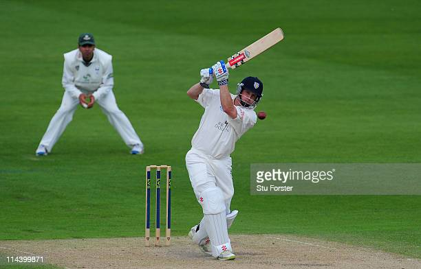 Durham batsman Phil Mustard picks up some runs during the second day of the LV County Championship Division One game between Worcestershire and...