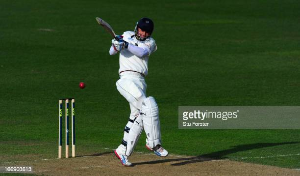 Durham batsman Scott Borthwick pulls a ball to the boundary during day two of the LV County Championship Division One game between Warwickshire and...