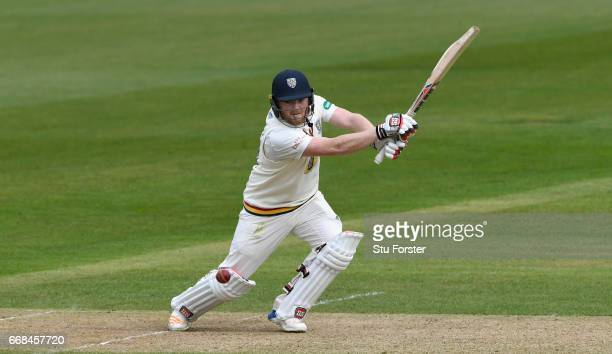 Durham batsman Stuart Poynter picks up some runs during day one of the Specsavers County Championship Division Two match between Durham and...