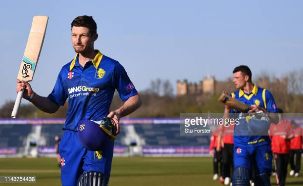 Durham batsmen Cameron Bancroft acknowledges the applause after his match winning unbeaten century after the Royal London One Day Cup match between...