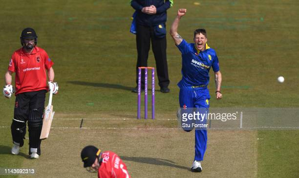 Durham bowler Brydon Carse celebrates after bowling Leicestershire batsman Harry Dearden during the Royal London One Day Cup match between Durham and...