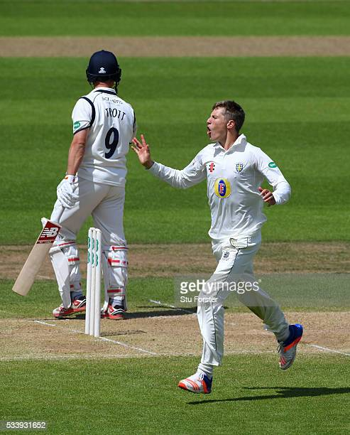 Durham bowler Brydon Carse celebrates after dismissing Warwickshire batsman Jonathan Trott during day three of the Specsavers County Championship...