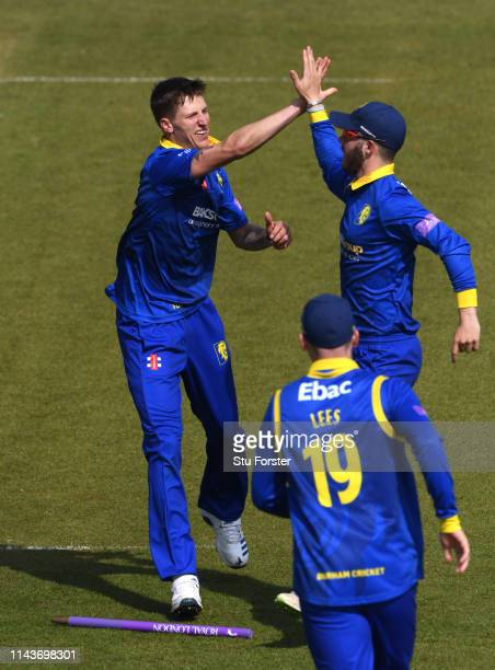 Durham bowler Brydon Carse celebrates with Graham Clark after bowling Leicestershire batsman Colin Ackermann during the Royal London One Day Cup...