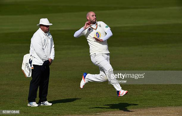 Durham bowler Chris Rushworth bowls during day one of the Specsavers County Championship Division One match between Durham and Middlesex at Emirates...