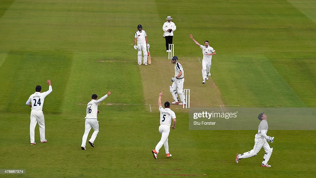 Durham bowler Graham Onions celebrates after dismissing Alex Lees during day one of the LV County Championship Division One match between Durham and Yorkshire at Emirates Durham ICG on June 28, 2015 in Chester-le-Street, England.