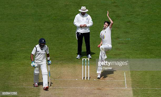 Durham bowler Graham Onions in action during day three of the Specsavers County Championship Division One match between Warwickshire and Durham at...