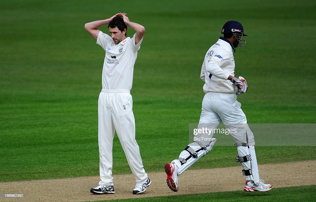Durham bowler Graham Onions reacts after a near miss during day three of the LV County Championship Division One game between Warwickshire and Durham at Edgbaston on April 19, 2013 in Birmingham, England.