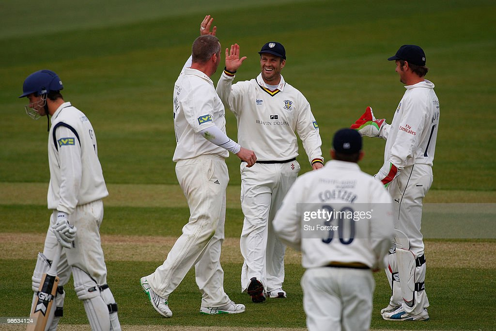 Durham bowler Ian Blackwell (l) is congratulated by Dale Benkenstein after taking the wicket of Hampshire batsman Chris Benham during day three of the LV County Championship division one match between Durham and Hampshire at The Riverside on April 23, 2010 in Chester-le-Street, England.