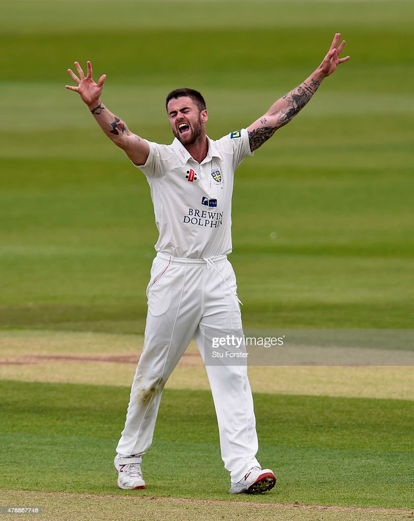 Durham bowler Jamie Harrison celebrates after bowling Yorkshire batsman Jack Leaning during day one of the LV County Championship Division One match between Durham and Yorkshire at Emirates Durham ICG on June 28, 2015 in Chester-le-Street, England.