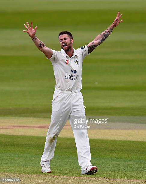 Durham bowler Jamie Harrison celebrates after bowling Yorkshire batsman Jack Leaning during day one of the LV County Championship Division One match...