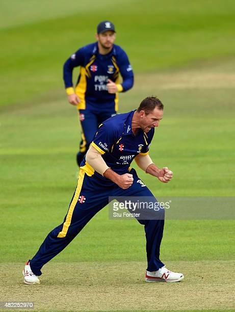 Durham bowler John Hastings celebrates after dismissing Somerset batsman Peter Trego during the Royal London OneDay Cup match between Somerset and...