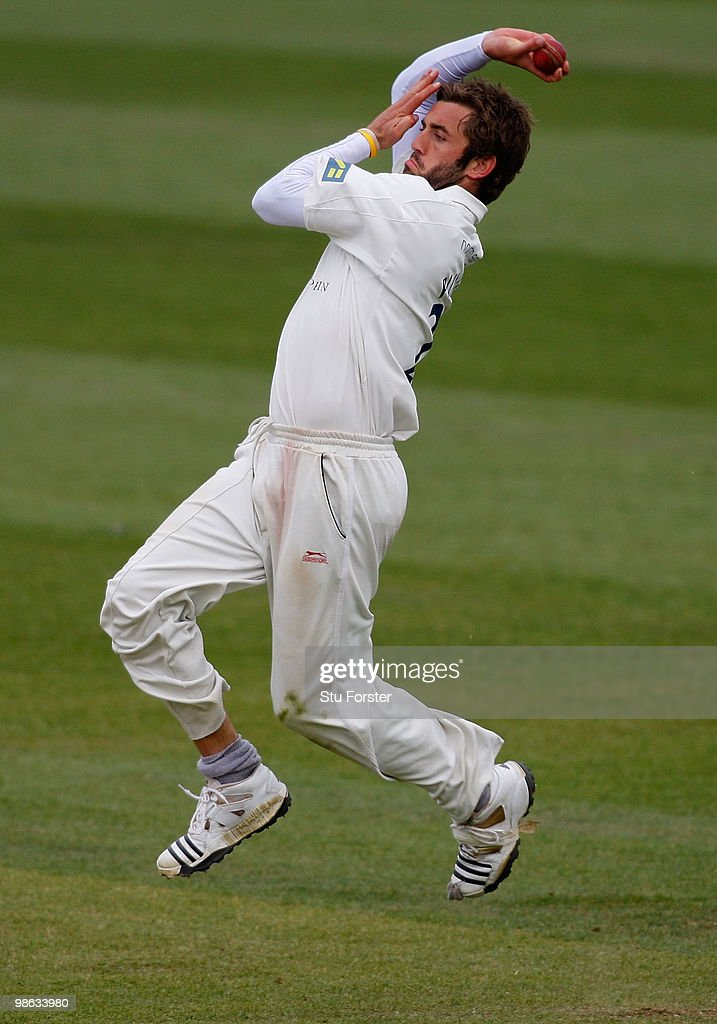 Durham bowler Liam Plunkett in action during day three of the LV County Championship division one match between Durham and Hampshire at The Riverside on April 23, 2010 in Chester-le-Street, England.