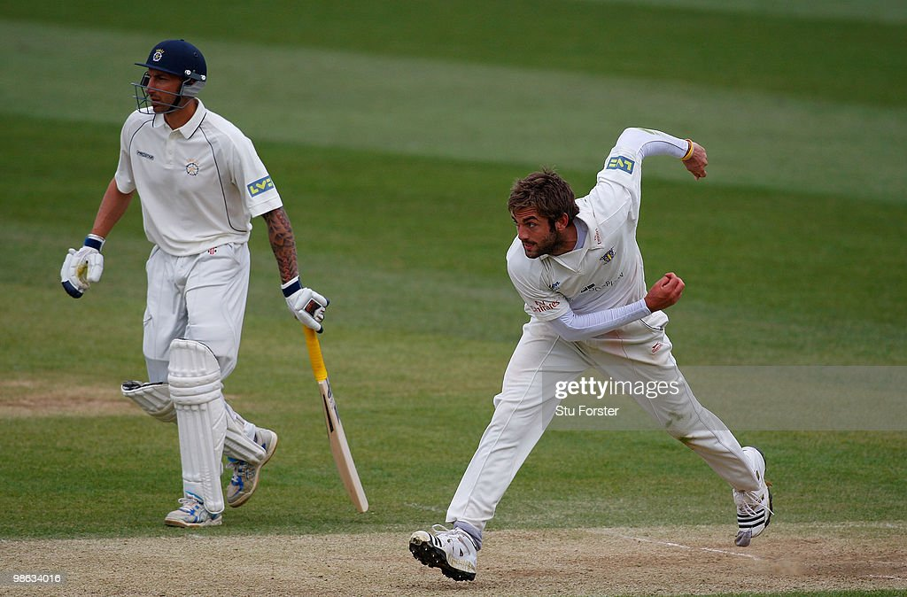 APRIL Durham bowler Liam Plunkett in action during day three of the LV County Championship division one match between Durham and Hampshire at The Riverside on April 23, 2010 in Chester-le-Street, England.