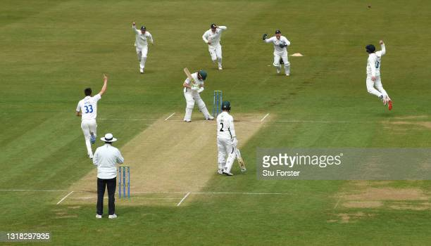 Durham bowler Mark Wood takes the wicket of Worcestershire batsman Daryl Mitchell, caught by Jack Burnham for 62 runs during Day four of the LV=...