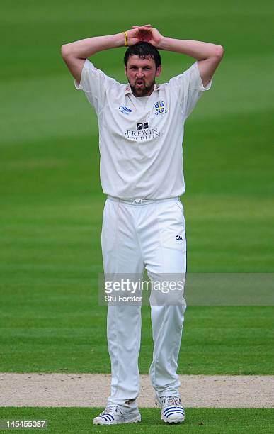 Durham bowler Steve Harmison reacts during day one of the LV County Championship division one match between Durham and Lancashire at The Riverside on...