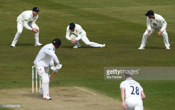 Durham captain Cameron Bancroft takes a catch at slip to dismiss Stiaan van Zyl off the bowling of James Weighell during day two of the SpecSavers...