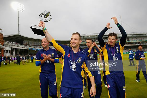 Durham captain Mark Stoneman celebrates with the tropy after his side won the Royal London OneDay Cup Final between Warwickshire and Durham at Lord's...