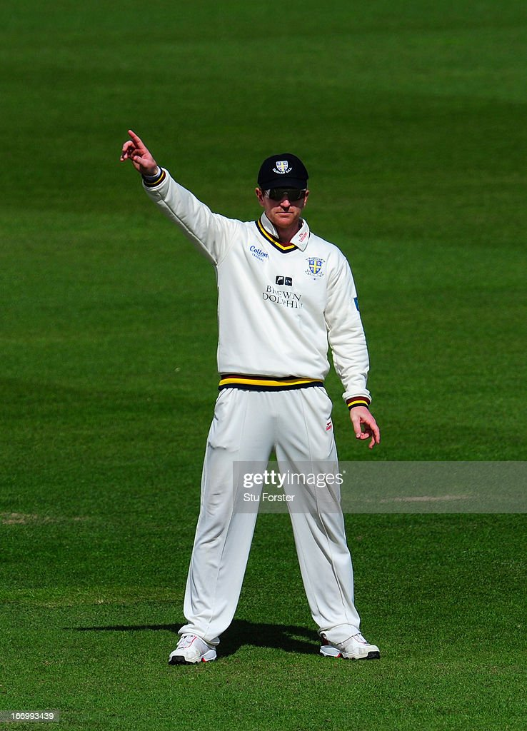Durham captain Paul Collingwood sets his field during day three of the LV County Championship Division One game between Warwickshire and Durham at Edgbaston on April 19, 2013 in Birmingham, England.