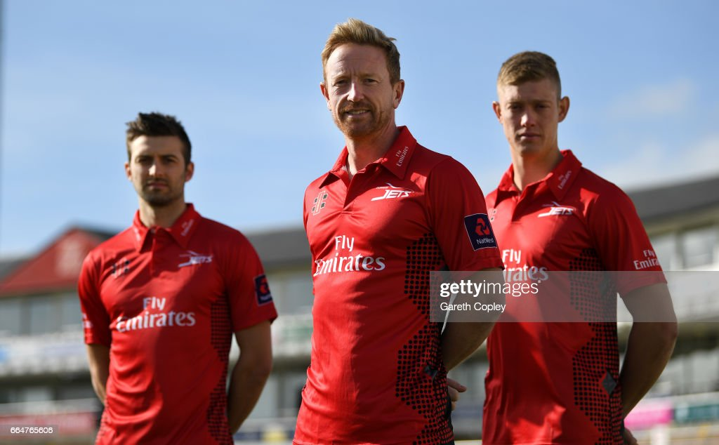 Durham captain Paul Collingwood with Mark Wood and Keaton Jennings pose for a portrait at The Riverside on April 5, 2017 in Chester-le-Street, England.