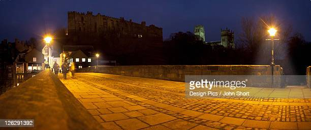 durham castle and cathedral in evening