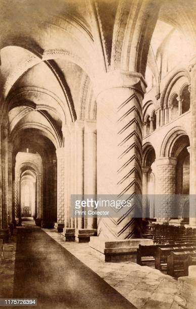 Durham Cathedral', 1893. The Romanesque cathedral in Durham dates almost entirely from the 12th century. It was a medieval site of pilgrimage due to...