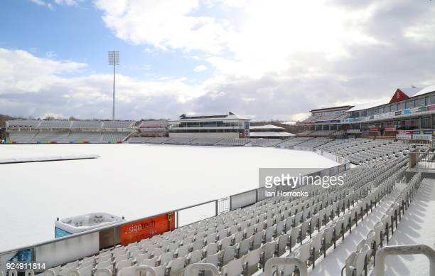 Durham CCC gets a covering of snow 7 weeks before the season starts in ChesterLestreet Co Durham on February 27 2018 in ChesterLestreet England...