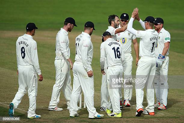 Durham celebrate the dismissal of Andrew Gale of Yorshire during the Specsavers County Championship Division One match between Yorkshire and Durham...