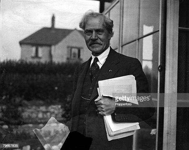 Durham England 13th October Prime Minister Ramsey MacDonald at work preparing speeches for his election campaign in the garden of Dr Grant's home at...