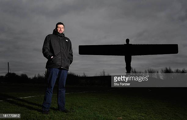 Durham fast bowler Stephen Harmison poses at the Angel of the North on February 22 2013 in Gateshead England