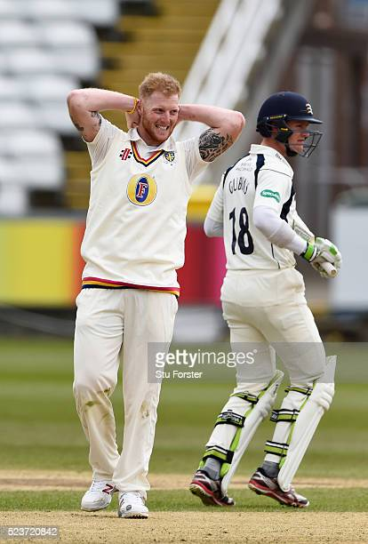 Durham fielder Ben Stokes reacts as Nick Gubbins picks up some runs during day one of the Specsavers County Championship Division One match between...