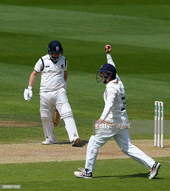 Durham fielder Mark Stoneman catches out Warwickshire batsman Tim Ambrose during day three of the Specsavers County Championship Division One match...