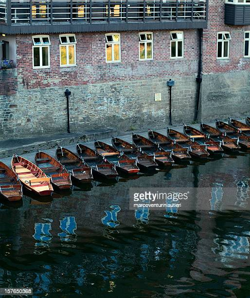 Durham from the Elvet bridge - row of boats, dusk