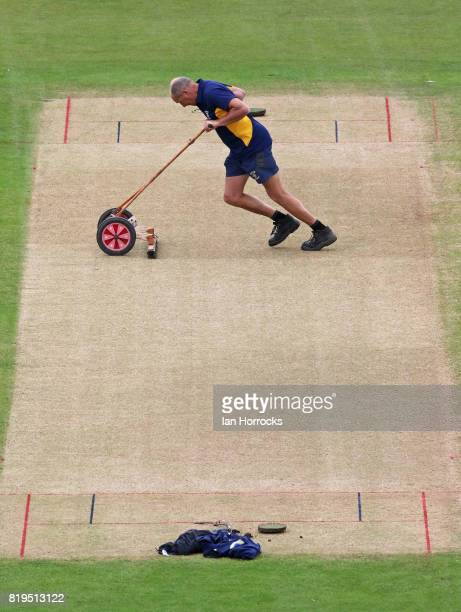 Durham groundsman Vic Demain prepares the wicket during The NatWest T20 Blast match between Durham Jets and Leicestershire Foxes at The Emirates...